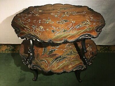 Mid 20th Century Oak Marquetry Engraved Coffee Table • 675£