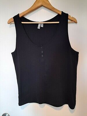 AU4 • Buy ASOS Women's Black Cotton Ribbed Singlet Top. Size 18. With Tag.
