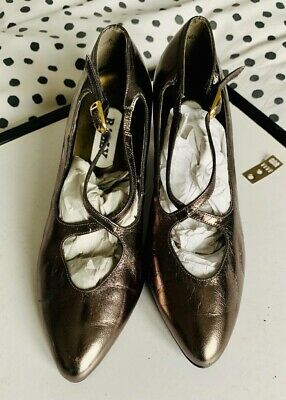 Vintage BALLY Metallic Pewter Mary Jane Strappy Shoes Size 4.5 UK • 23£