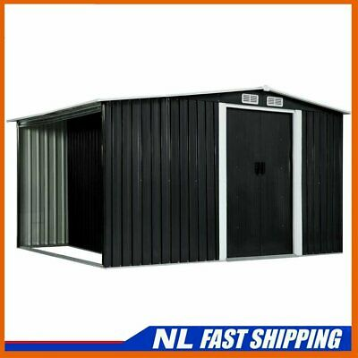 Best! Garden Shed With Sliding Doors Anthracite Steel Outdoor Storage House • 310.49£