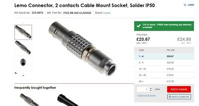 FGG.0B.302.CLAD52Z Lemo Connector, 2 Contacts Cable Mount Socket, Solder IP50  • 14.99£