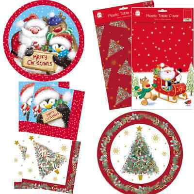 £2.99 • Buy Christmas Festive Party Tableware Paper Plates Cups Napkins Plastic Table Cover