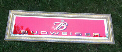 $ CDN189.79 • Buy RARE  Vintage 2002 Budweiser Beer 42  Gold Framed Red Glass Mirror Sign USA!!