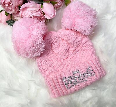 Princess Baby Pink Knitted Hat 0-6m Embroidered Spanish Romany Girls • 6.95£