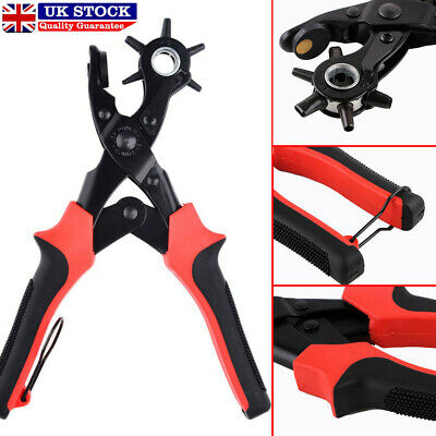 New Revolving Leather Hole Punch Pliers Puncher Leather Cut Belt Eyelet 6 Sizes • 8.39£