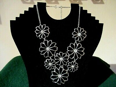 £4.99 • Buy Lovely Unusual Miss Selfridge Diva Necklace Silver Tone Flowers And Diamantes