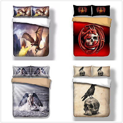 3D Skull Duvet Quilt Cover Gothic Bedding Set Pillow Cases Single Double King • 14.99£