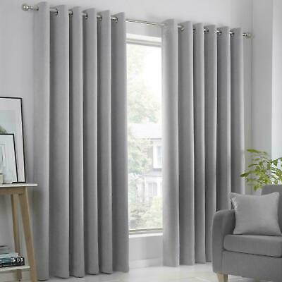Eyelet Light Weight Ready Made Luxury Curtains Pair Ring Top Curtain Silver Grey • 17.99£