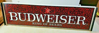 $ CDN104.52 • Buy Vintage BUDWEISER KING OF BEERS Plastic Lighted Bar Sign Red Annhauser Logo