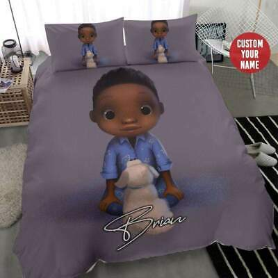Cute Black Boy Custom Personalized Name Duvet Cover Bedding Sets Gifts • 53.54£