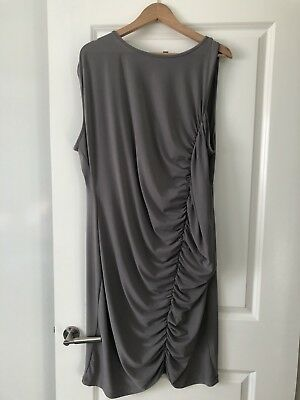 AU49 • Buy Asos Curve Dress Size 22 Sleeveless Ruched Front Feature Grey