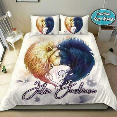 Lions Couple Custom Personalized Names Duvet Cover Bedding Sets Gifts • 53.54£
