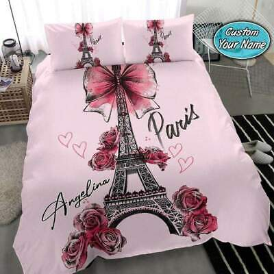 Eiffel Tower Paris Custom Personalized Name Pink Duvet Cover Bedding Sets Gifts • 53.54£