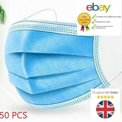 Face Mask Surgical Disposable 3 Ply Layer Medical Mouth Covering Masks [50-pack] • 3.98£