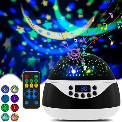8 Color LED Rotating Night Light Projector Baby Bedroom Relax Music Mood Light • 21.30£