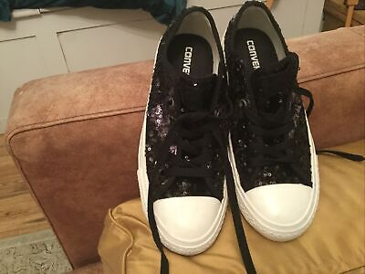 £10 • Buy Sequin Converse Size 5 Black And Purpley Pink
