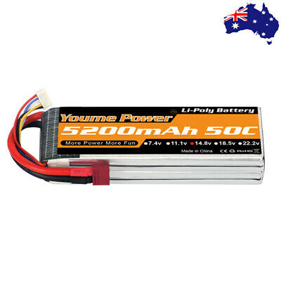 AU63.71 • Buy Youme 5200mAh 4S 14.8V LiPo Battery 50C Dean Plug For RC Drone Car Helicopter AU
