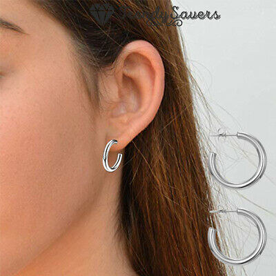 Cool Chunky Round Thick Tube Open Half Hoop 925 Sterling Silver Plated Earrings  • 3.99£