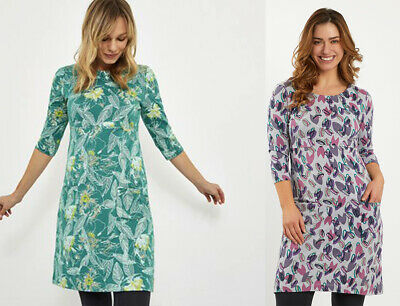 Weird Fish Floral Print Scoop Neck 3/4 Sleeves Cotton Jersey Tunic Dress Top  • 16.99£