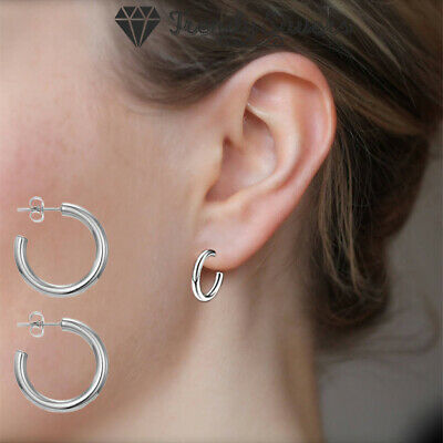 925 Sterling Silver Plated Chunky Thick Huggies Open Half Hoop Earrings Women  • 4.99£