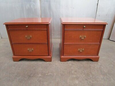 Matching Pair Of  STAG Minstral Light Mahogony Bedside  Chest Cabinet Tables  • 149.95£