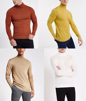 River Island Mens Viscose Polo Roll Turtle NECK Ribbed Slim Jumper Sweater Top • 10.99£