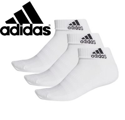 AU31.72 • Buy Adidas Mens Womens Unisex 3 Pairs Cushioned Ankle Socks Low Cut Cotton White