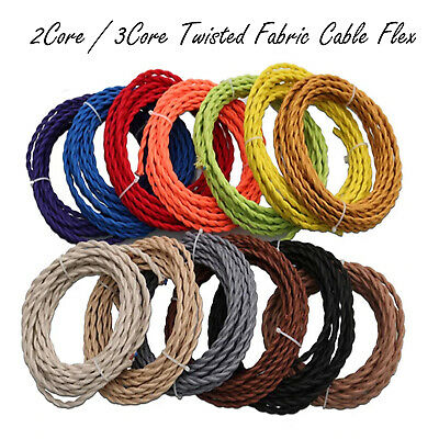 2/ 3 Core Twisted Vintage Style Coloured TWIST Braided Fabric Cable Lamp Flex UK • 3.14£