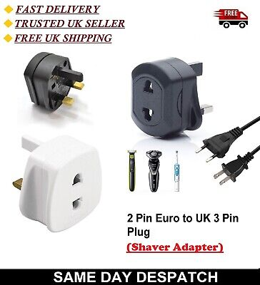 UK 2 Pin Euro To UK 3 Pin Plug Travel European Converter Plug Adapter • 3.45£