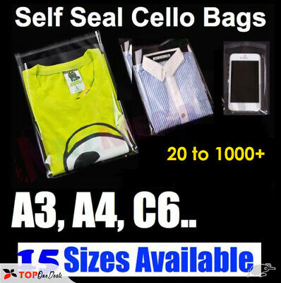 Garment Bags Clear Cellophane Plastic Self Seal Packaging T-Shirts Clothes • 5.99£