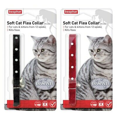 £5.95 • Buy Beaphar Soft Flea Cat Collar - Red / Black Diamante With Bell 16 Week Protection