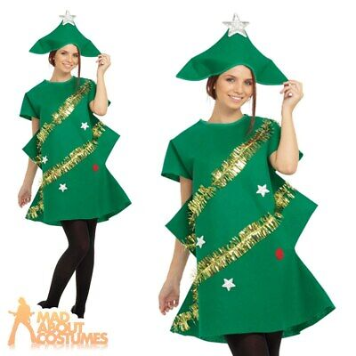 Adults Christmas Tree Costume Xmas Ladies Tinsel Funny Fancy Dress Outfit • 12.49£