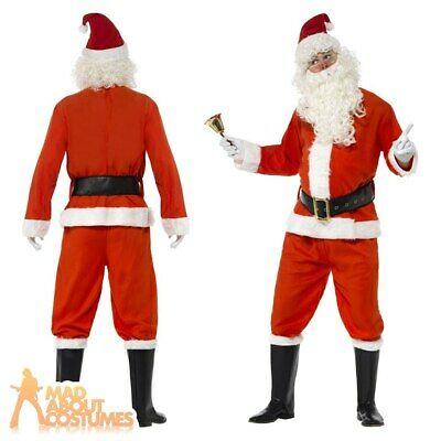 £21.99 • Buy Deluxe Santa Claus Costume Adult Father Christmas Mens Xmas Fancy Dress Outfit