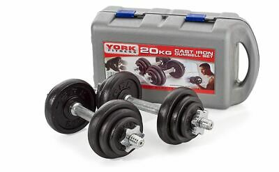 York 20 Kg Dumbbell Set (Pack Of 2) - Black, 20kg In Total Perfect Hand Weights • 150£