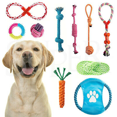 AU18.69 • Buy 10Pcs Pet Dog Rope Chew Toy Set Puppy Durable Cotton Toys Clean Teeth