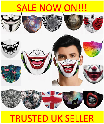 SALE!! Joker Skull Gothic Face Mask Covering Reusable Washable Cotton Adults UK • 2.99£