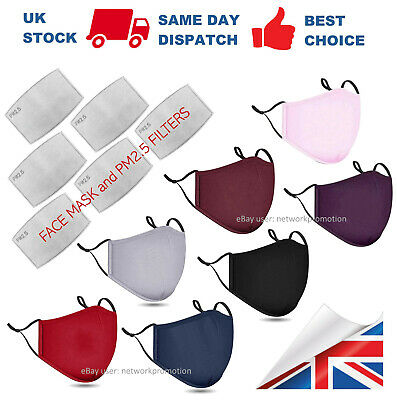 Cotton Face Mask With PM2.5 Filter Pocket Washable Reusable Breathable Covering • 2.89£