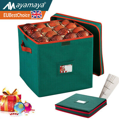 600D Christmas Ornaments Storage Box Bauble Decoration Xmas Tree Holder With Lid • 18.99£