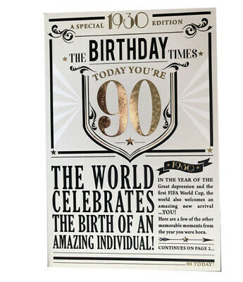 90th Birthday 1930 Fact Year You Were Born Card Foil  • 1.35£
