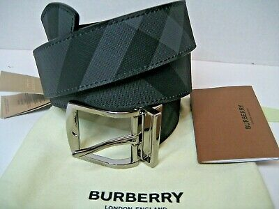 $380 NEW BURBERRY Men Belt 36 In Reverse Logo Buckle Check Grey Black Leather • 249.45£