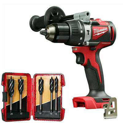 Milwaukee M18BLPD2-0 M18 Brushless Combi Drill With 5 Piece Auger Drill Bit Set • 113£