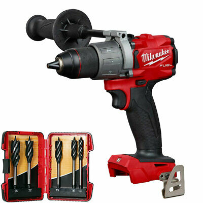 £127 • Buy Milwaukee M18FPD2-0 18V Brushless Percussion Drill & 5 Piece Auger Drill Bit Set