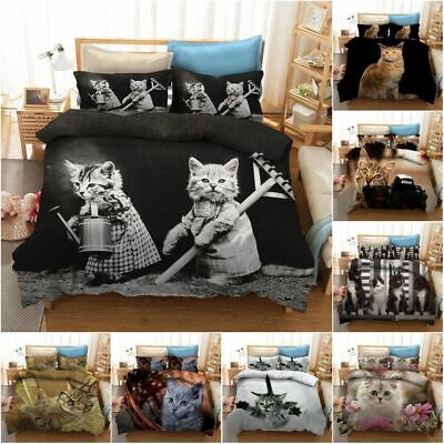3D Cute Cat Kitten Duvet Cover Bedding Set Pillow Cases All Sizes Single King • 23.99£