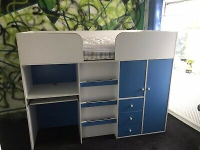 £130 • Buy Miami Midsleeper Blue Cabin Bed With Desk And Drawers