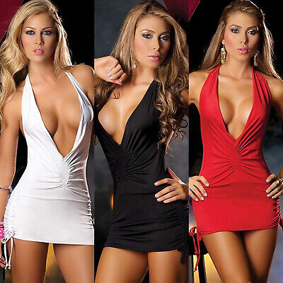 Women's Sexy Plunge Deep V-Neck Bodycon Backless Mini Short Dress Lingerie Party • 5.79£