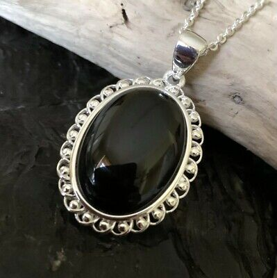 £55 • Buy New Design Oval Cabochon Whitby Jet Scroll Design Mount Sterling Silver Pendant