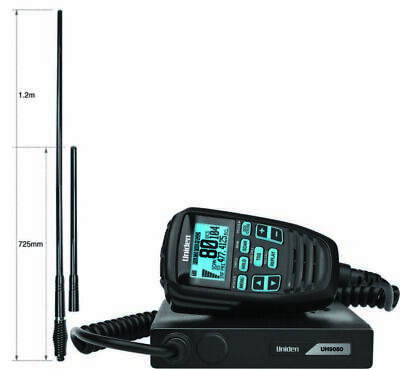 AU648.88 • Buy Uniden UH9080 Mini Compact UHF CB W/ AT970BK TWIN 6.6/3.0 DBi Gain Antenna Pack