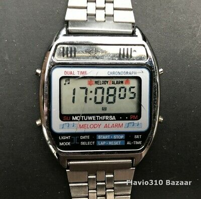 1980's VTG Senzor MELODY ALARM Dual Time Chronograph 34mm Watch - New Battery • 59.17£