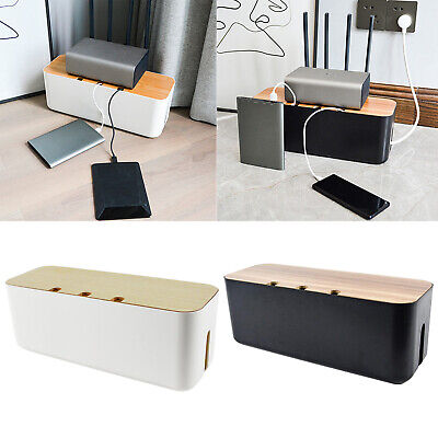 £18.48 • Buy Cable Wire Management Box Charger Hide Tidy Cover Tray Organizer Wood Cover