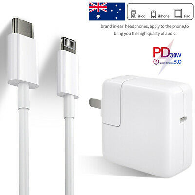 AU8.83 • Buy For IPhone 12 Mini 11 Pro XS Max IPad PD 30W/2A Fast Charger USB-C Cord Adapter